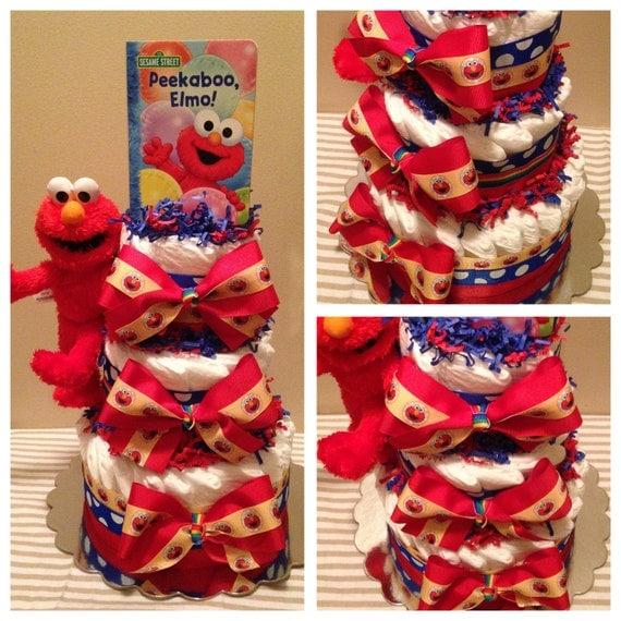 items similar to elmo diaper cake elmo baby shower elmo shower