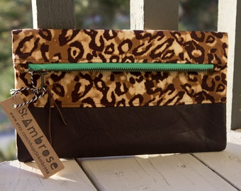 The Leopard Foldover Clutch in Repurposed Brown Leather and Leopard Print Fabric with a Mint Zipper and Mint Interior