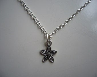 Rose Necklace - Flower Necklace - Antique Silver Rose Necklace - Rose Pendant Charm - Nickel Free