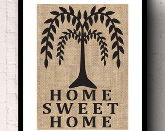 Home Sweet Home Wedding and Anniversary Housewarming Gift Burlap Wall Decor