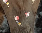 French Suede hand embroidered gloves- chocolate brown