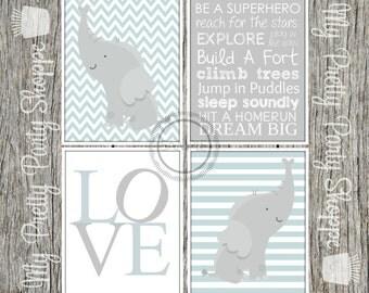 4 Piece 8x10 Printable Nursery Baby Boy Bedroom / Nursery / Elephant / Love / Subway Art / Chevron / Baby Blue / Wall Art *INSTANT DOWNLOAD*