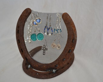 Earring Holder, Jewelry Holder, Lucky Horse Shoe