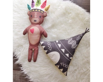 Native Bear or Teepee Stuffed Pillow