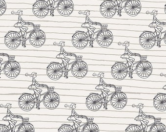 Crib/Toddler fitted bed sheet, Cherie, bicycles, white-black-tan