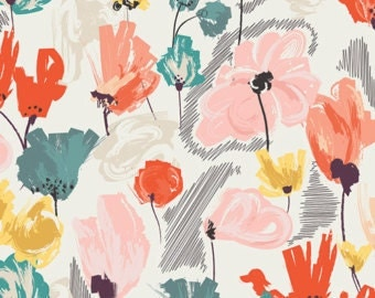 Crib/Toddler fitted bed sheet, rapture, wild beauty, floral, coral, mint, peach, teal