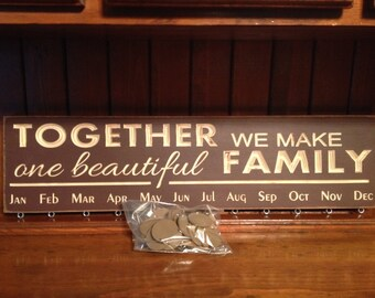 """Custom Carved Wooden Sign - """"Together We Make One Beautiful Family - BIRTHDAY BOARD"""" - 24""""x6"""""""