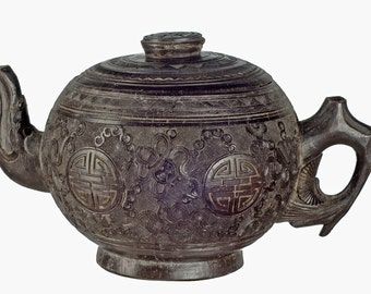 Chinese carved coconut teapot Republic Period