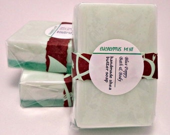 Eucalyptus Mint Soap, Handmade Shea Butter Glycerin Soap, Natural Soap Using Essential Oils, Herbal Scented