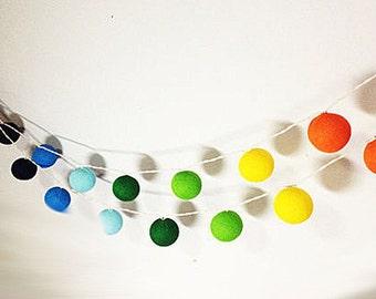 Rainbow color Set  20 mixed Rainbow colors Cotton Ball String Lights Fairy lights Party Decor Wedding Garden  Holiday Lighting