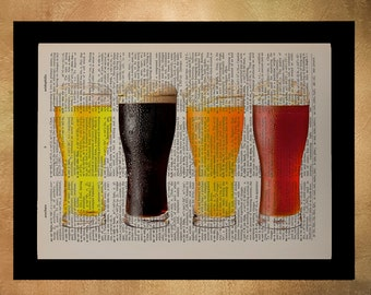 Beer Dictionary Art Print Beer Glasses Micro Brew Microbrew Alcohol Bar Kitchen Art Wall Home Decor Gift Ideas da694