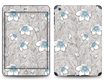 Blue Flower Pattern Print - Apple iPad Air 2, iPad Air 1, iPad 2, iPad 3, iPad 4, and iPad Mini Decal Skin Cover