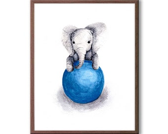 Baby Boy Nursery Decor, Elephant Nursery Art, Gray and Navy Nursery Decor, Kids Wall Art, Elephant Wall Art, Baby Boy Gift, Print