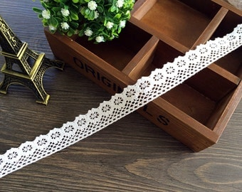 White cotton lace 0.98 inches wide 3 yards beautiful lace trim