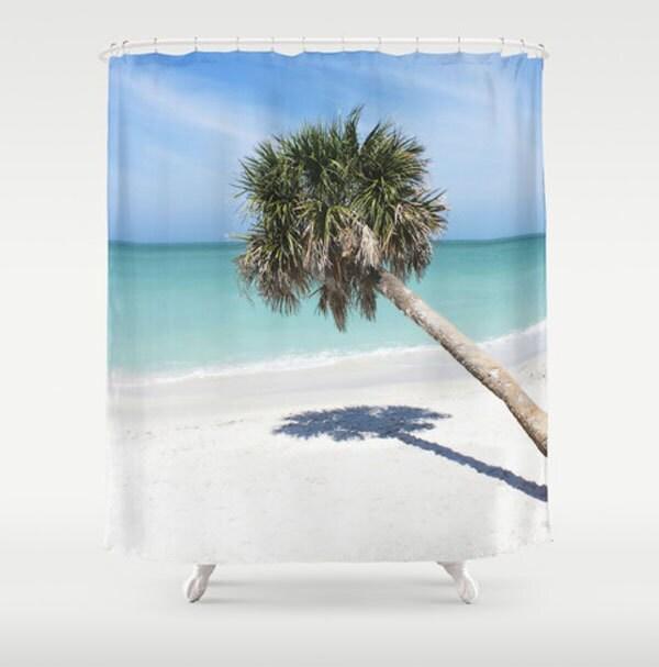 Palm tree shower curtain tropical bath decor teal white for Palm tree bathroom ideas