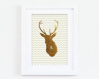 Initial Gold Stag Head - Monogram Print - Stag Head Print - Custom Print - Personalized Print - Chevron Print - Personalised Print