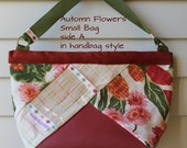 Autumn Flowers Small Wedge Knitting Bag, Wristlet or Handbag style