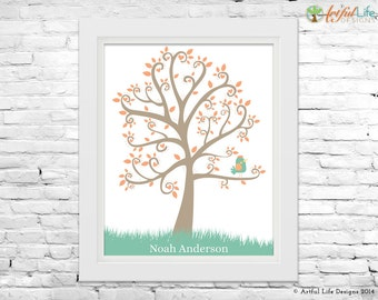 Boys Room Decor, Personalized Art Print Gift for Boy, Toddler Boys Room Art, Boy's Playroom Decor, Green, Peach, Brown Nature Art Print