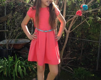 Girls Coral Skater Dress w/ Box Pleats and Blue Belt, Girls Skater Dress, Girl Dresses Sizes 2/3, 4/5, 6/6X, 7/8, 10/12, 14 Ready to Ship