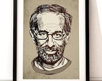 Steven Spielberg portrait print, Steven Spielberg print, film print, Steven Spielberg movie art, film print, Steven Spielberg, film poster