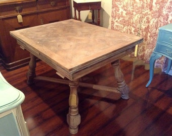 Vintage French Parquet Dining Table with Leaves and Limed Finish