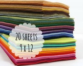 Felt Sheets, 9 x 12 inches - Wool Blend Felt - Felt Fabric - You Choose 20 Colors