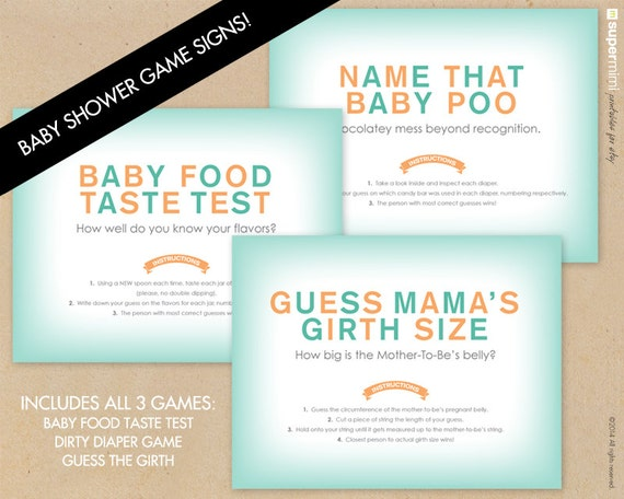 Baby Shower Diaper Girth And Baby Food Game Signs With Labels  (Green/Orange) / Instant Digital Download