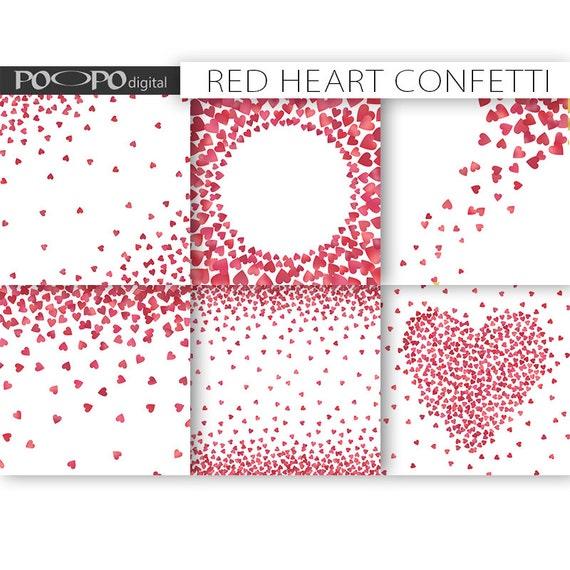 Heart confetti digital paper frames border card design making – Paper Border Designs Templates