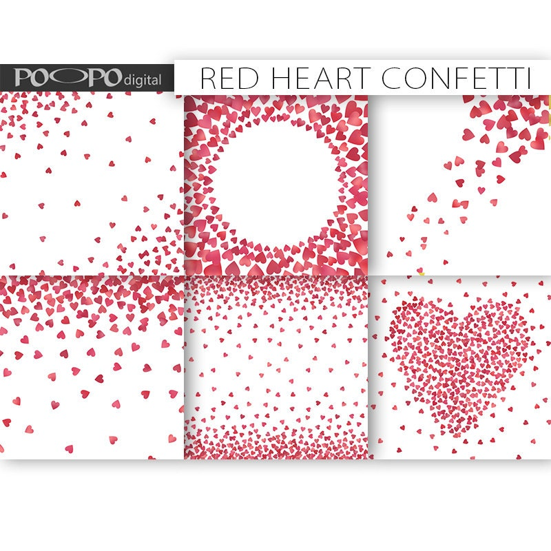 Heart confetti digital paper frames border card design making heart confetti digital paper frames border card design making invitation template invite scatter love pink red glitter foil valentines day stopboris Image collections