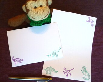 Dinosaur Stationery Set - Green & Purple - Stationery Paper - Stationery Set - Writing Paper - Writing Paper Stationery - Dinosaur Paper