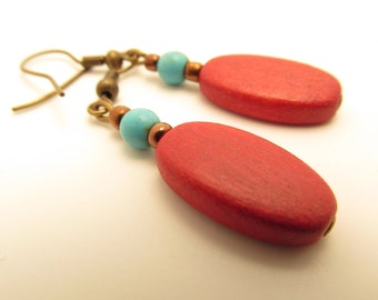 3858 - Turquoise and Wood Earrings