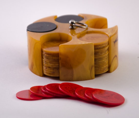 Marbled Bakelite Mini Poker Chips PRICE