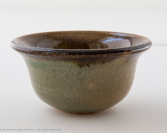 5 inch Round green and brown flared Bowl
