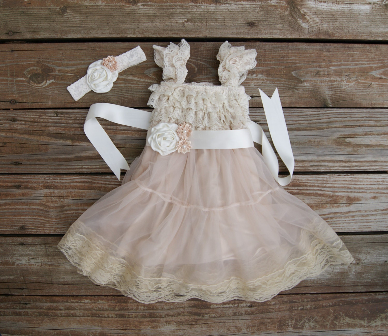 Flower girl dress Champagne lace dress Shabby chic vintage