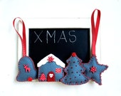 Christmas felt ornament, set of 4, red, grey, house, Christmas tree, star, bell, Christmas tree ornament, handmade, home decoration