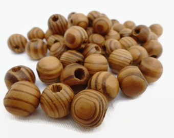 50 x Burly Wood Beads 12mm - Wood Grain Beads