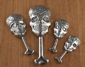 Calavera Measuring Spoons- Sugar Skulls cast in Pewter- Day of the Dead Kitchen Tools for Baking and Cooking and cupcakes