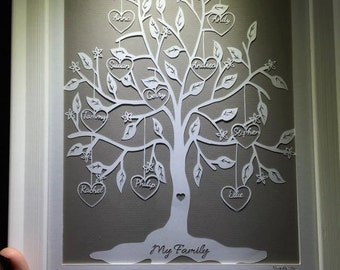 Family Tree - Hand Cut Framed Paper Cut 1