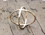 Gold filled hammered criss cross ring, x ring, modern cross ring, statement ring, crisscross ring