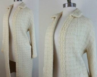 60s Ivory Jacket Mod Form Lined S/M