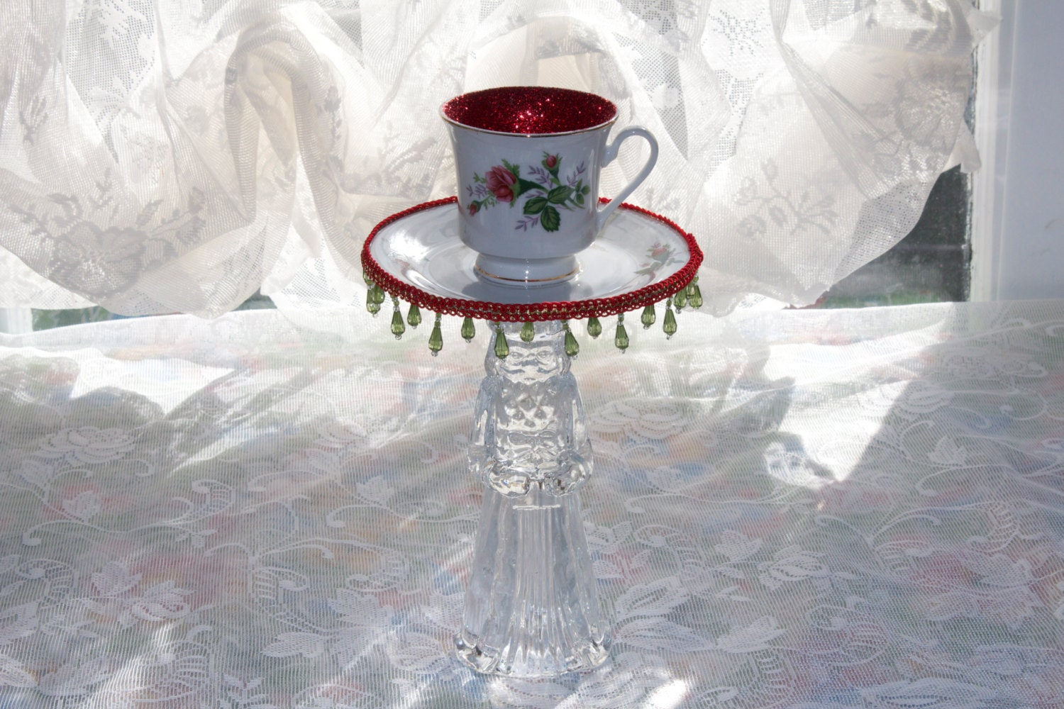 Merry christmas tea cup centerpiece candle holder holiday