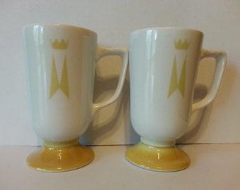 Vintage Marriott Hotel Restaurant China Homer Laughlin Pedestal Mugs