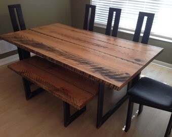 Reclaimed dining table with matching bench