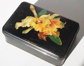 Vintage Candy Tin /  Orchid / Vintage Valentine / Black Floral
