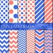 Royal Blue Coral Digital Paper Pack, Wedding Invitations, Bedroom Decor Chevron Dots Striped, Printable 12x12 Scrapbooking Backgrounds