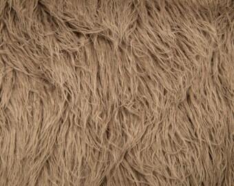 Taupe Curly Alpaca Faux Fur Backdrop Photography Prop - Photo Prop- Newborn Nest