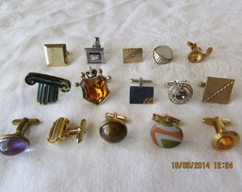 Lot of 15 Vintage Single Cuff Links