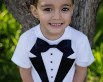 Boys Tuxedo T- Shirt, Toddler Tux, Wedding, Ring Bearer Tuxedo, Boy Tuxedo, Special Occasion, Boys Formal Wear