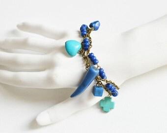 SEA BREEZE Bracelet metal brass with beads howlite stone