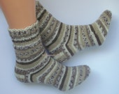 Hand knitted warm socks . Special sock yarn.Beige brown autumn colors socks.Autumn gift ideas.